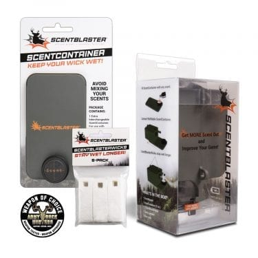ScentBlaster Starter PLUS Kit, ScentBlaster, ScentBlasterWick 6-Pack, ScentContainer, Weapon of Choice Logo, Army Buck Hunters